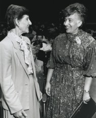 black and white photo of Nancy Ransom and Matina Horner