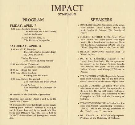The program from the 1967 Impact Symposium