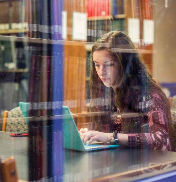 Abbey finds time for study at the Anne Potter Wilson Music Library.