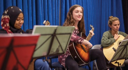 Abbey takes Introduction to Guitar, a required course for students in vocal music education.