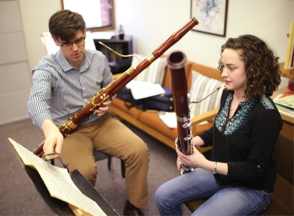 At Brigit's weekly hour-long lesson with Peter Kolkay, associate professor of bassoon, they go over her repertoire for her large ensemble and quintet pieces as well as pieces that are part of her lesson plan.