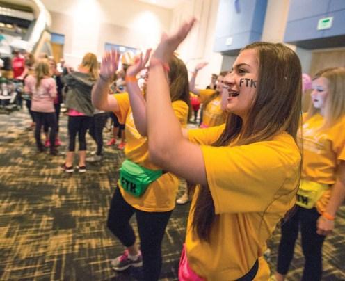 Dancing with fundraising committee members at Dance Marathon