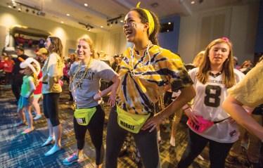 Motivating the crowd at Dance Marathon