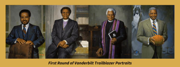 First round of Vanderbilt Trailblazer Portraits. From L to r, the Rev. Walter R. Murray, Bishop Joseph Johnson, the Rev. James Lawson, Perry Wallace.