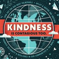 "Facebook group logo, showing a graphic of a globe bear a red banner that says ""Kindness is contagious too"""