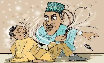 Image result for Nigerian Father Cartoon puinshing daughter