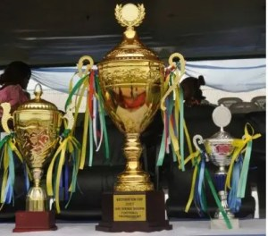 The trophies to be won by participating teams during the Dickson Football Cup tournament