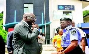 Edo state governor, Godwin Obaseki and Commissioner of Police, Babatunde Kokumo at the premises of Keystone Bank