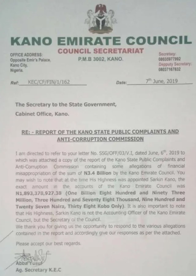 Emir of Kano replies query from state government, denies allegation of financial misappropriation