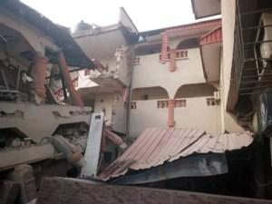 The collapsed hotel in Abakaliki
