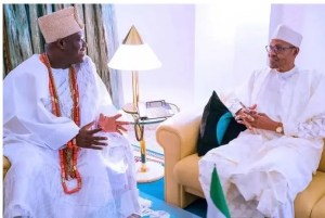 President Buhari receives in audience Ooni of Ife Imperial majesty Oba Adeyeye Ogunwusi Ojaja II at the State House on 18th July 2019.