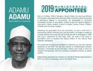 Adamu, Minister