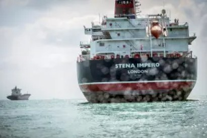 Stena Impero, a British-flagged vessel owned by Stena Bulk, is seen at undisclosed place off the coast of Bandar Abbas, Iran