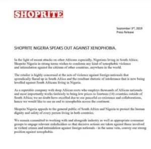 Shoprite, Nigeria, South Africa, xenophobia