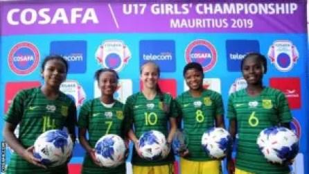 South Africa's five hat-trick scorers, Nabeelah Galant, Tiffany Kortjie, Jessica Wade, Oyisa Marhasi and Sonika Mzingeli.