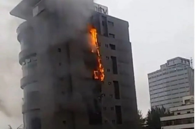 Fire razes t Unity Bank headquarters in Lagos