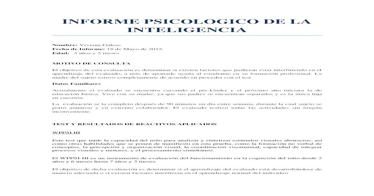 Informe Psicologico de La Inteligencia (WISC IV Y WPPSI