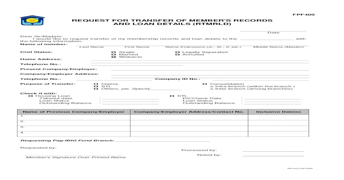 FPF400 Request for Transfer of Members Records and Loan