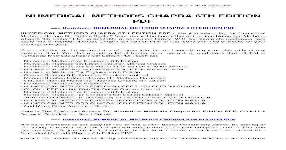 NUMERICAL METHODS CHAPRA 6TH EDITION Methods Chapra 6th