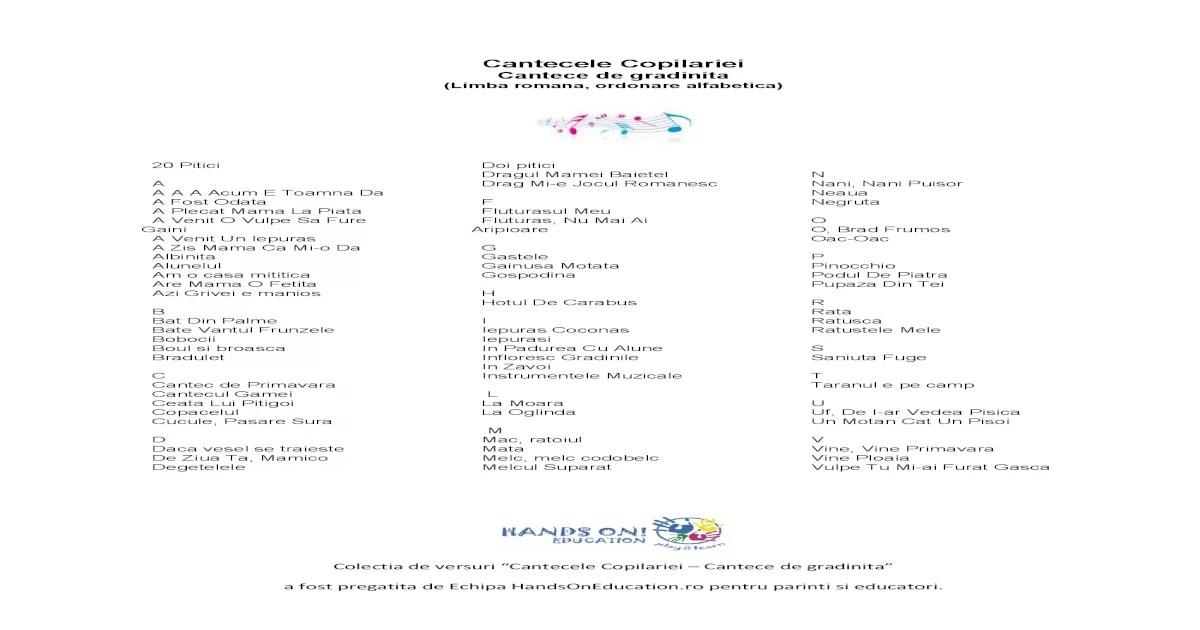 Colectia de Versuri Cantecele Copilarie Cantece Pentru