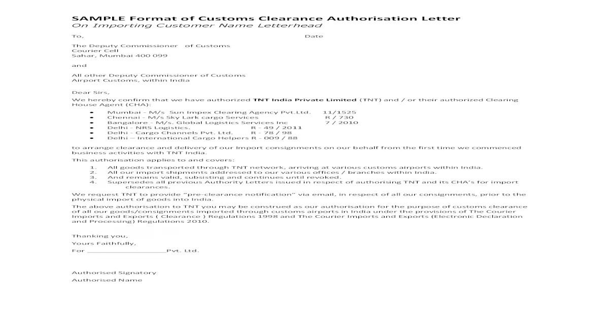 SAMPLE Format of Customs Clearance Authorisation Letter