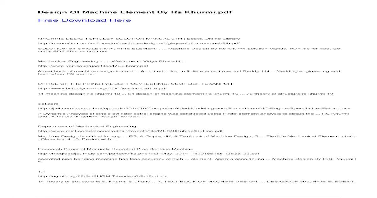 Machine Elements In Mechanical Design Pdf Free Download