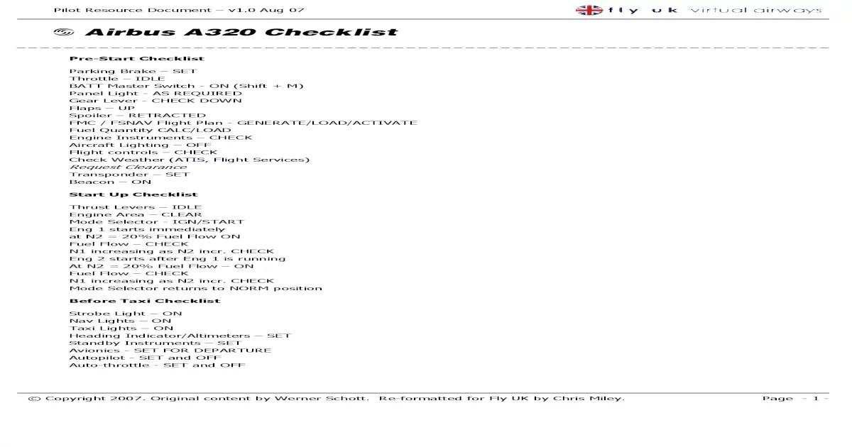 Airbus A320 Checklist Pdf