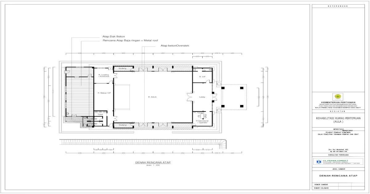 overstek baja ringan denah rencana atap dan pondasi pdf document