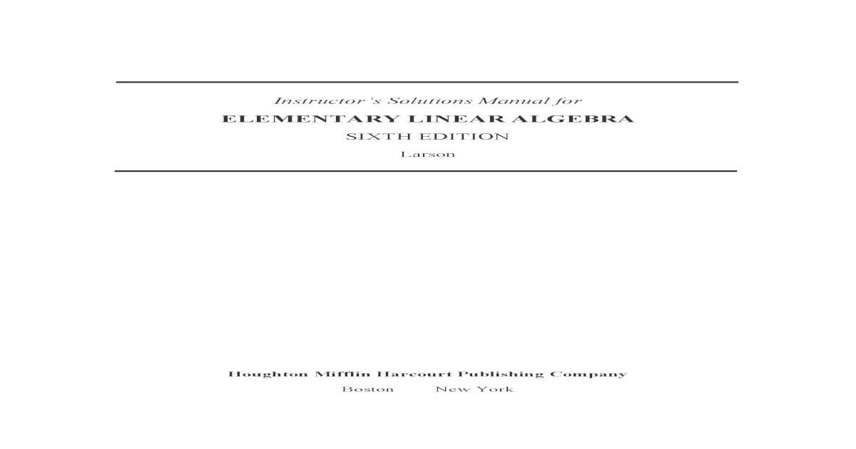 Bestseller: Elementary Linear Algebra Larson Solutions