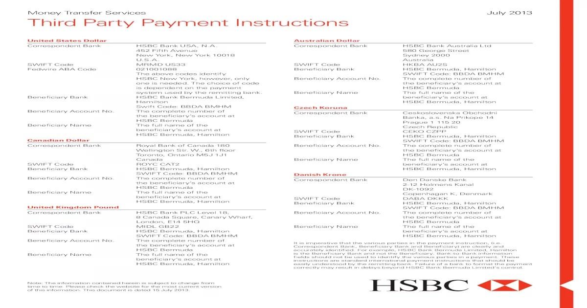 Bank Swift Code Hsbc
