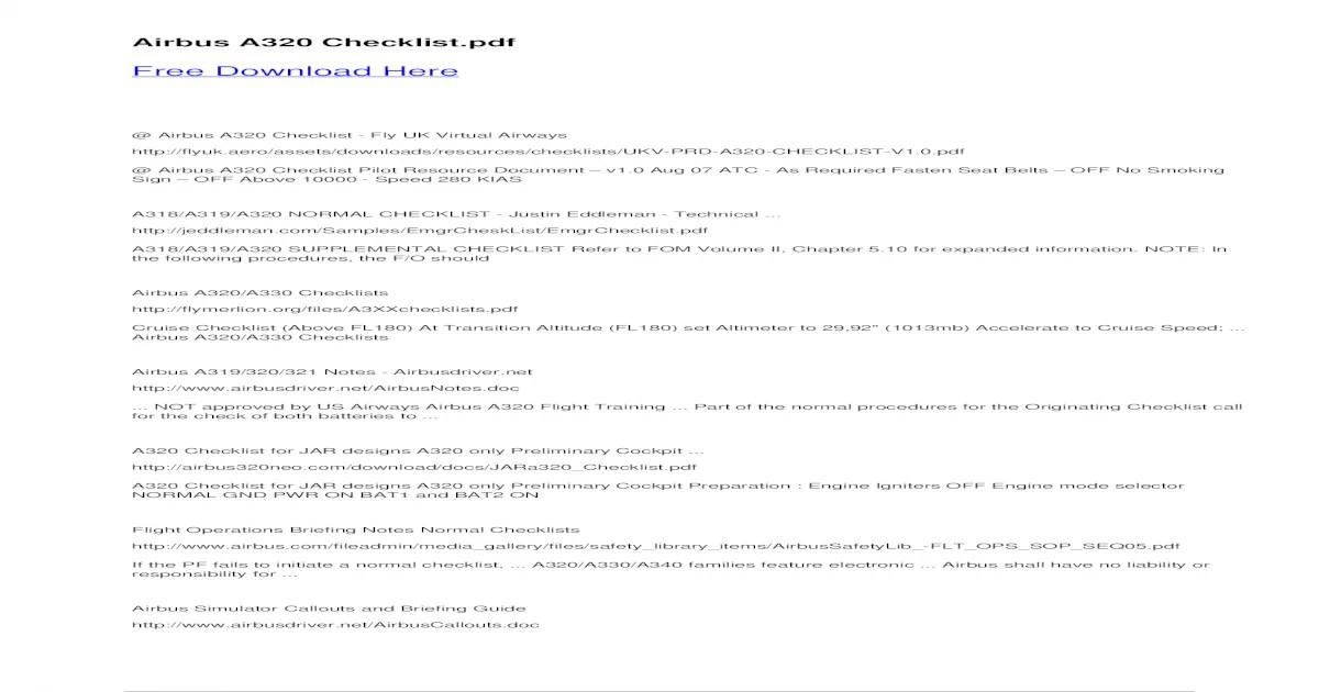 A330 Checklist Fsx