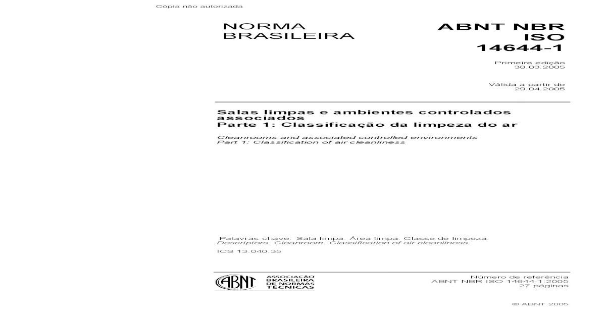 NBR ISO 14644-1 - 2005 - [Download PDF]