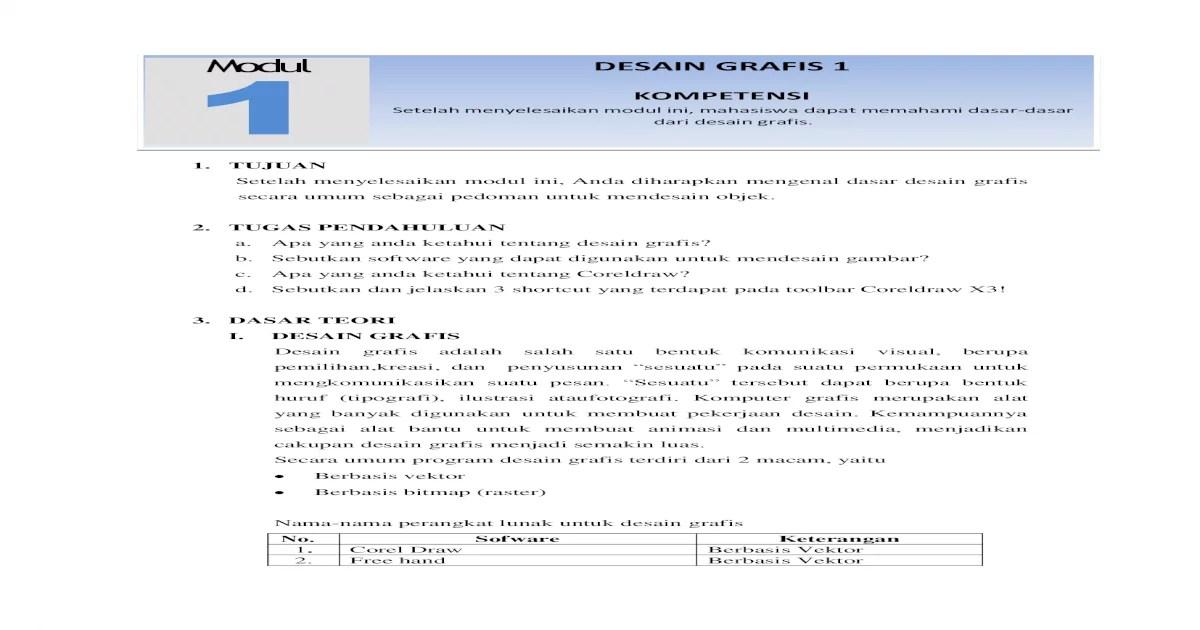 Modul DESAIN GRAFIS 1 - menyelesaikan modul ini, ... Sebutkan dan ...