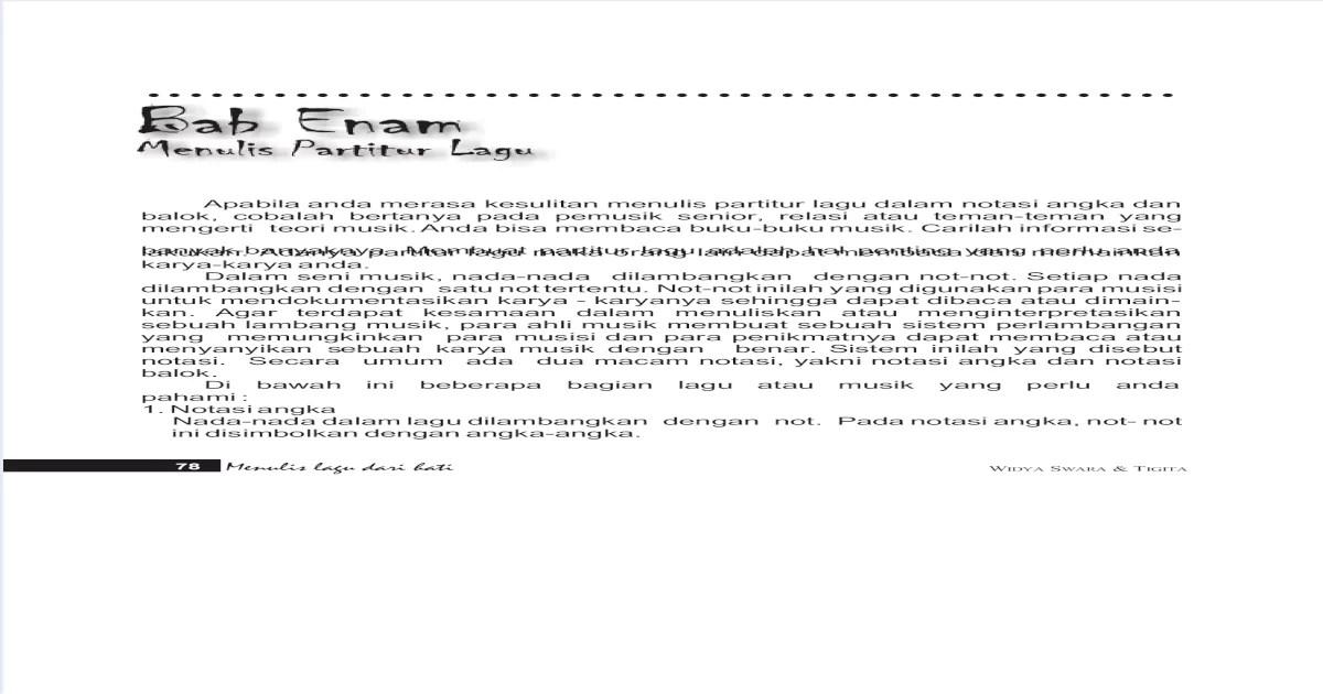 Menulis Lagu Dari Hati 2 Karya Widyaswara Pdf Document