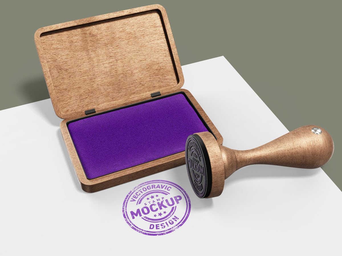 A realistic stamp impress for your logo or badge presentations with this rubber stamp psd mockup. Wood Rubber Circle Stamp Mockup Vectogravic Design