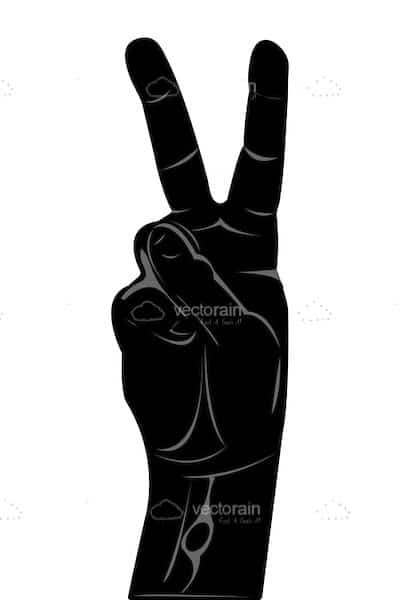 Abstract Hand Silhouette with VictoryPeace Sign