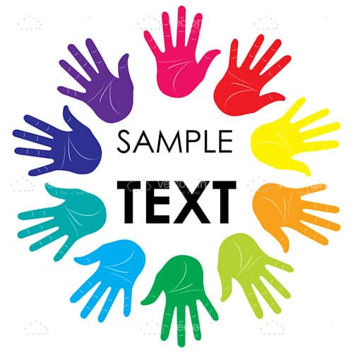 Abstract Colourful Hands Circle with Sample Text
