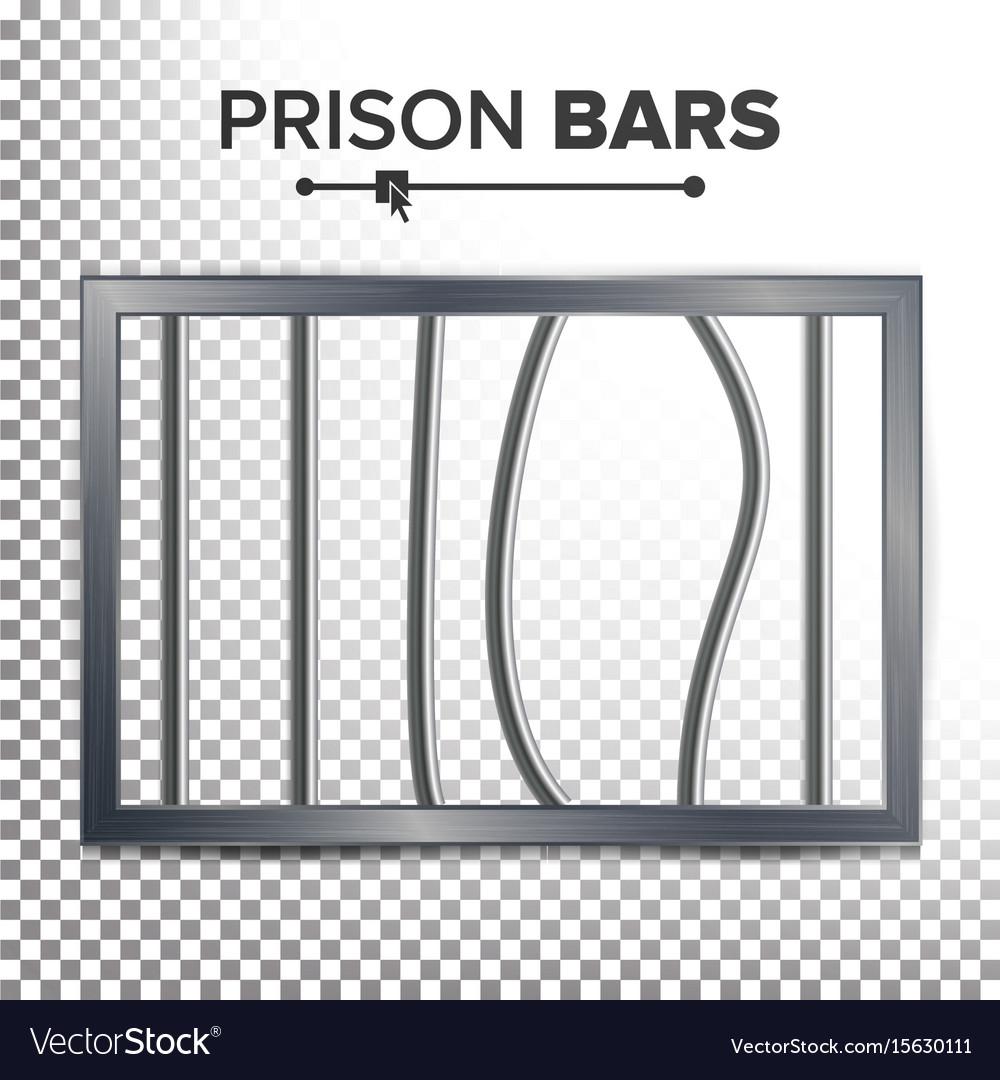 Realistic prison window broken prison bars Royalty Free
