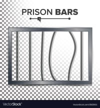 Realistic prison window broken prison bars Royalty Free