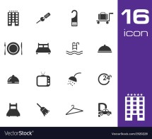 Black Hotel Icon Set White Background Vector