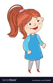 happy young girl cartoon character