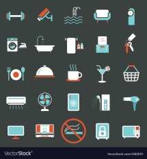 Hotel Accommodation Amenities Services Icons Set