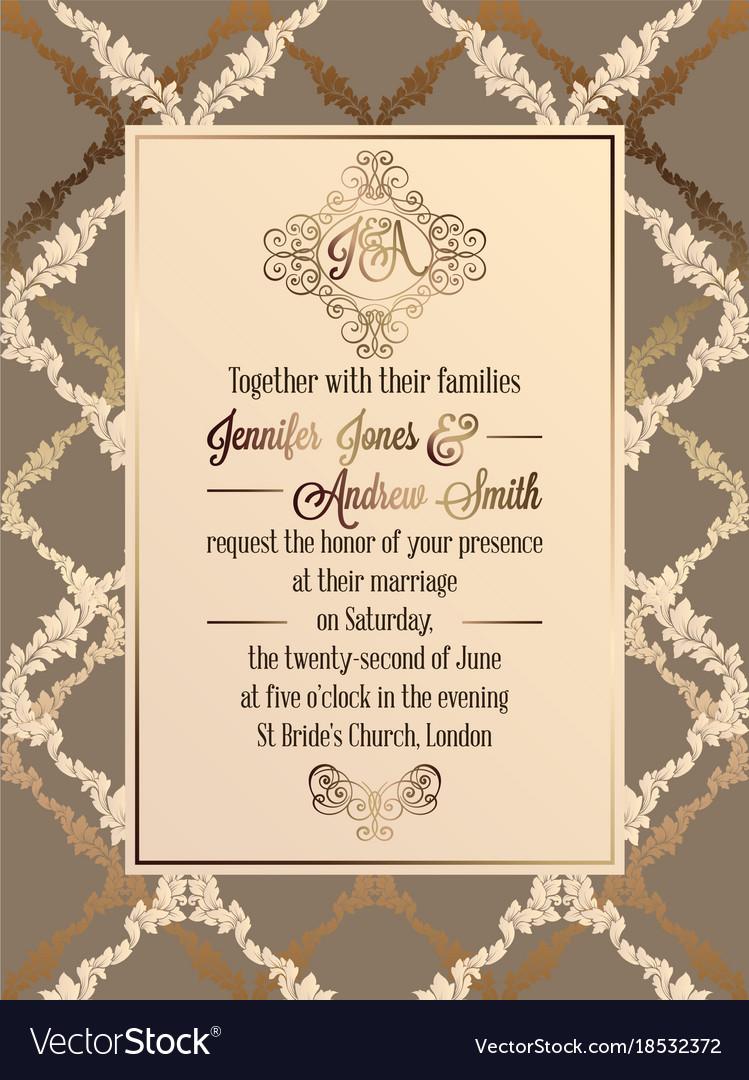 Vine Baroque Style Wedding Invitation Card Vector Image