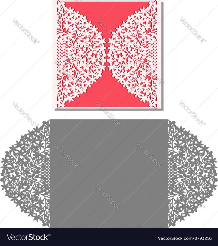 Laser Cut Envelope Template For Invitation Wedding Vector Image
