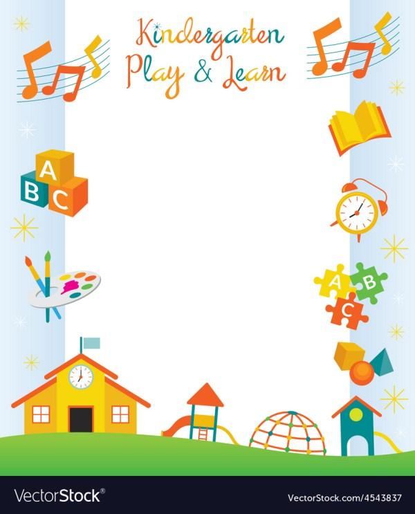 Kindergarten Preschool Kids Objects Frame Vector