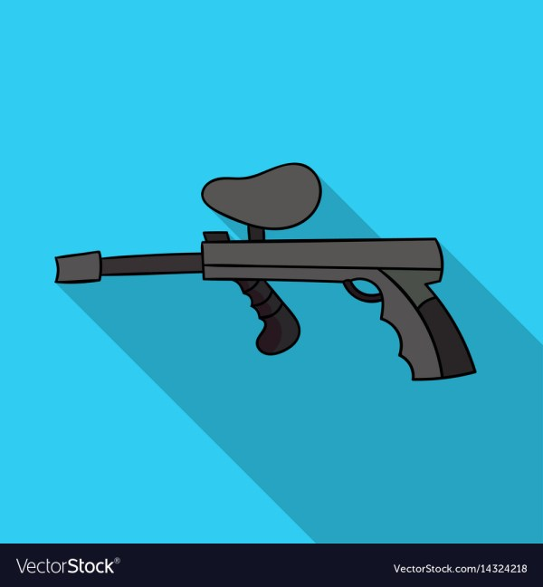 Paintball Gun Icon In Outline Style Isolated Royalty