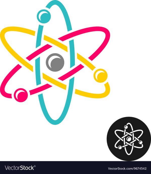 Atom Logo Colorful Physics Science Concept Symbol Vector