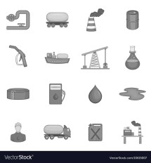 Oil Industry Icons Set Black Monochrome Style Royalty Free