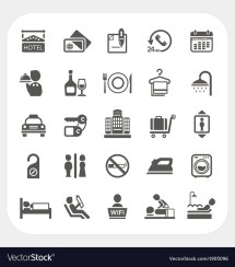 Hotel And Services Icons Set Royalty Free Vector