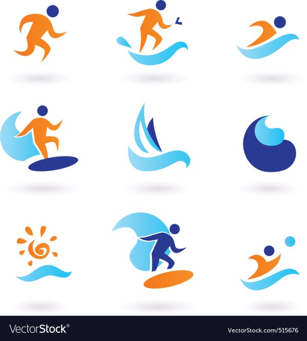 Summer Swimming Surfing Icons Royalty Free Vector